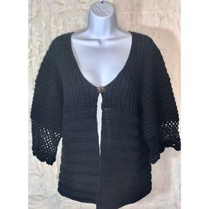 Chicos Shrug Sweater Size 3 (XL-16) Crochet Cuff